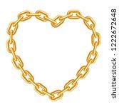 heart shaped golden chain frame.... | Shutterstock .eps vector #1222672648
