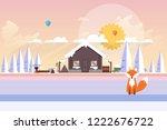 beautiful winter  wood house... | Shutterstock .eps vector #1222676722