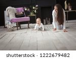 beautiful mother with long hair ... | Shutterstock . vector #1222679482