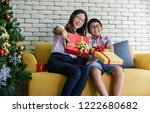 people give gifts for christmas ... | Shutterstock . vector #1222680682