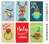 christmas card collection .... | Shutterstock .eps vector #1222681915