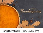 frame from orange pumpkin pie ... | Shutterstock . vector #1222687495