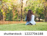 young lonely woman feel sad... | Shutterstock . vector #1222706188