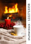 cup of hot drink with steam and ... | Shutterstock . vector #1222713358