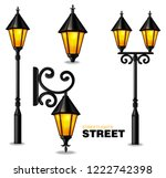 street lamps 3d vector realisic ... | Shutterstock .eps vector #1222742398