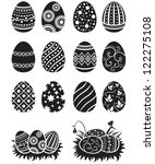a set of black and white easter ... | Shutterstock .eps vector #122275108