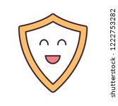 smiling shield color icon.... | Shutterstock .eps vector #1222753282