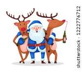 santa claus and reindeer.... | Shutterstock .eps vector #1222776712
