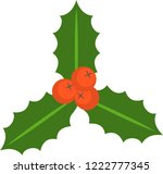 holly berry vector icon. leaves ... | Shutterstock .eps vector #1222777345