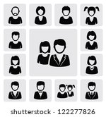 vector black people icons set... | Shutterstock .eps vector #122277826