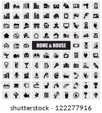 vector black hous icons set on...