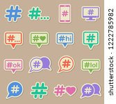 hashtag color vector icons on... | Shutterstock .eps vector #1222785982