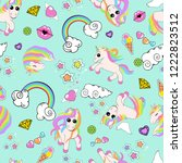 pattern with unicorns  rainbow  ... | Shutterstock .eps vector #1222823512