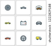automobile icons colored line... | Shutterstock .eps vector #1222829188
