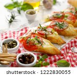 bruschetta  grilled slices of... | Shutterstock . vector #1222830055