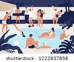 young men and women having fun... | Shutterstock .eps vector #1222837858