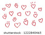 vector hearts set. hand drawn... | Shutterstock .eps vector #1222840465