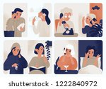 collection of people talking on ... | Shutterstock .eps vector #1222840972