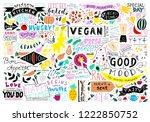 kitchen doodle pattern  cafe... | Shutterstock .eps vector #1222850752