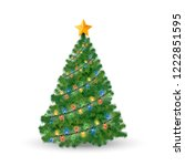 decorated christmas tree and... | Shutterstock .eps vector #1222851595