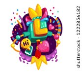 color letter l. vector... | Shutterstock .eps vector #1222856182