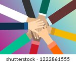young people putting their... | Shutterstock .eps vector #1222861555
