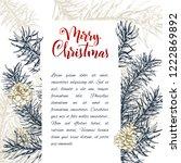 christmas sketch hand drawn... | Shutterstock .eps vector #1222869892