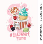 slogan with ice cream and candy ... | Shutterstock .eps vector #1222874878