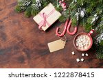 christmas gift box  candy canes ... | Shutterstock . vector #1222878415