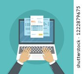 online payment service. checks... | Shutterstock .eps vector #1222879675