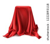 realistic box covered with red ... | Shutterstock . vector #1222893118