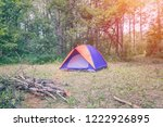 tourist tent on the background... | Shutterstock . vector #1222926895