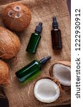 coconut oil with coconuts  ...   Shutterstock . vector #1222930912