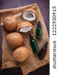 coconut oil with coconuts  ...   Shutterstock . vector #1222930915
