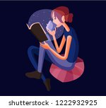 the girl is reading a book | Shutterstock .eps vector #1222932925