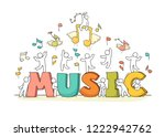 sketch of crowd little people... | Shutterstock .eps vector #1222942762