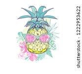 pineapple with glasses design ... | Shutterstock .eps vector #1222953622