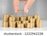 golden coins stacks on a ... | Shutterstock . vector #1222962238