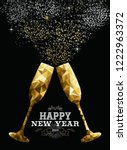 happy new year 2019 fancy gold... | Shutterstock .eps vector #1222963372