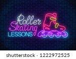 roller skates glowing neon sign....   Shutterstock .eps vector #1222972525