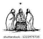 three wise men and  baby jesus | Shutterstock .eps vector #1222975735