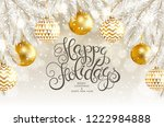 happy holidays card with fir... | Shutterstock .eps vector #1222984888