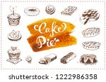 hand drawn pastry icons set... | Shutterstock . vector #1222986358