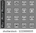 headphones vector web icons on...