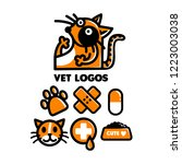 vet icon set  icons of pets ... | Shutterstock .eps vector #1223003038