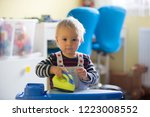 sweet toddler boy  playing with ... | Shutterstock . vector #1223008552