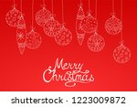 merry christmas red background... | Shutterstock .eps vector #1223009872