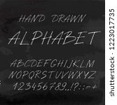 hand drawn font made by ink... | Shutterstock .eps vector #1223017735