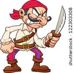 Angry Cartoon Pirate. Vector...