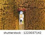 combine harvester working in... | Shutterstock . vector #1223037142